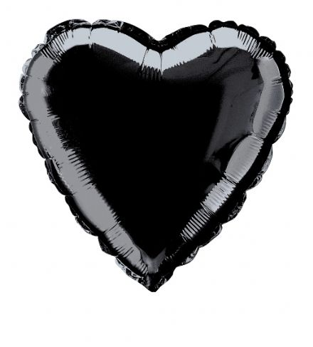 Heart Shaped Black Foil Helium Balloon